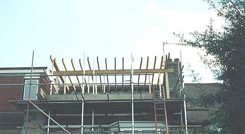 Dormer window roofing joists in position