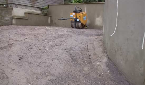 Existing drive cleared and levelled