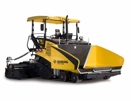 Paving machine for laying macadam surfaces