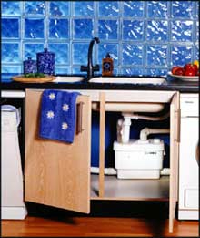 Sanivite system in kitchen cupboard