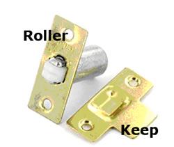 Adjustable mortise roller catch