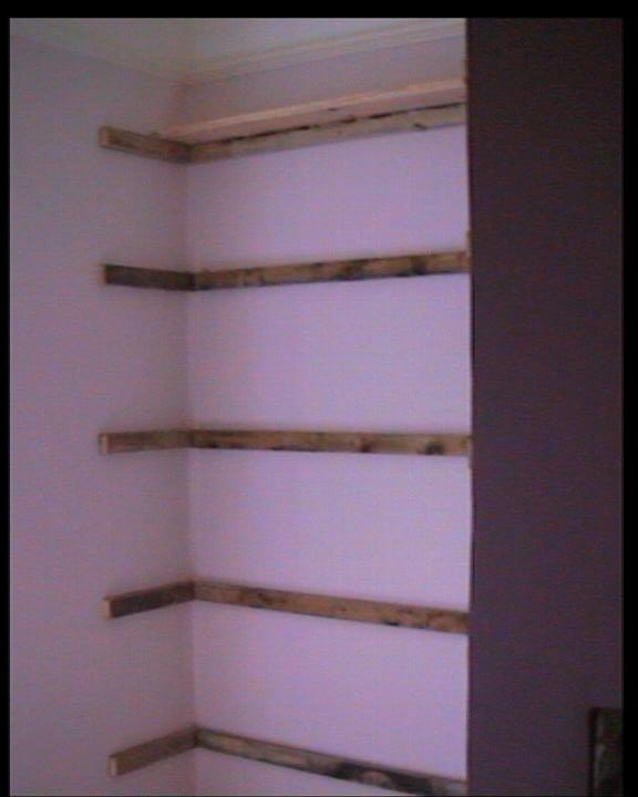 Shelf Bearers fixed in position in alcove