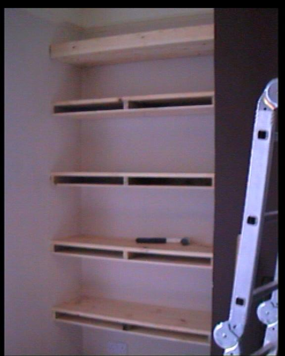 Fixing the face to the shelving to hide any gaps