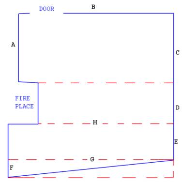 Downstairs floor area example showing the space divided into rectangles for easy measurement calculation