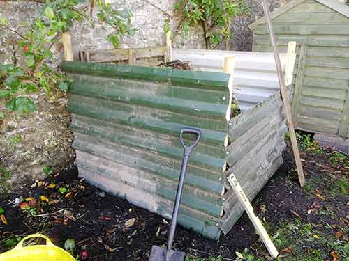 Sides fixed on to compost heap