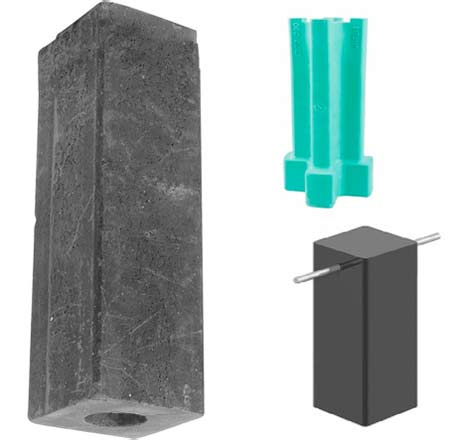 Selection of metal post holder driving blocks