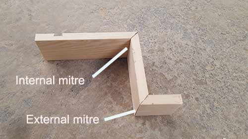 Internal and external mitre joints