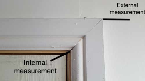 Internal and external measurement points for architrave