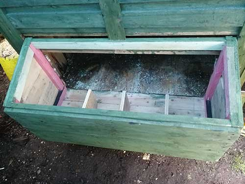Nest box screwed in place through floor, up each side and along the top