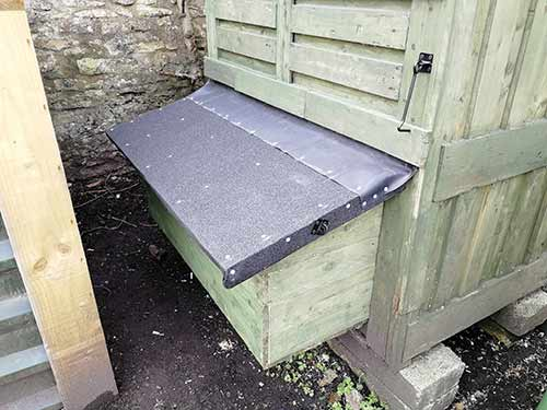 Nesting box fully fixed to rear of chicken coop