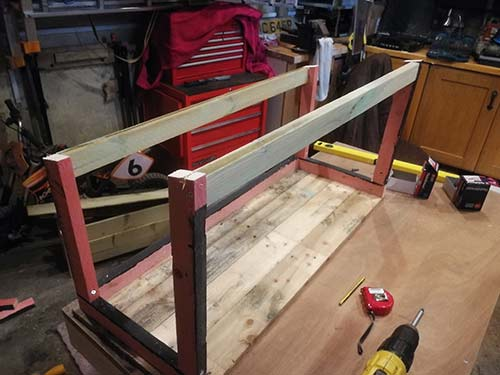Front and rear side framework timbers fixed in place
