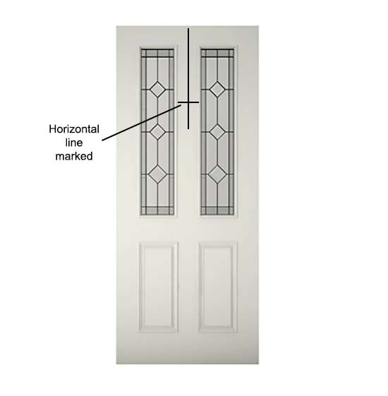 Horizontal line marked on door