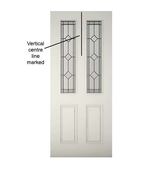Vertical line marked on door