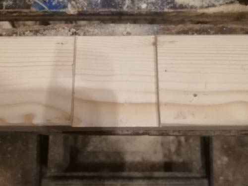 Horizontal mounting timber fully sanded down and support timber recess cut out