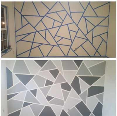 Using painters tape to create geometric design