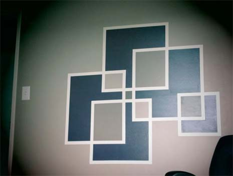 Painters tape to create squares pattern on wall