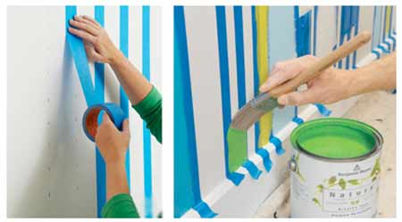 Using painters tape to create stripes