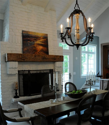 Stylish painted fireplace in dinning room