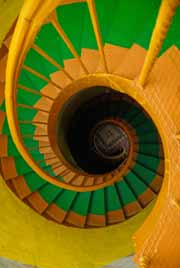 Spiral stairs painted to follow the curvature of the stairs