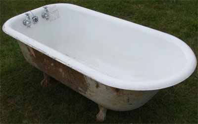 Old cast iron bath