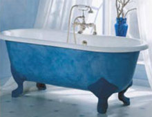 Coloured roll top bath