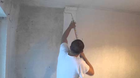 Painting plaster that has fully dried