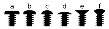 Main types of screw head