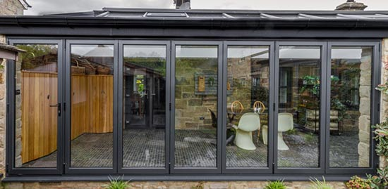 Modern aluminium bifold doors