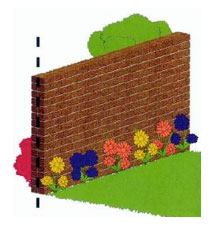 Garden wall on property boundary
