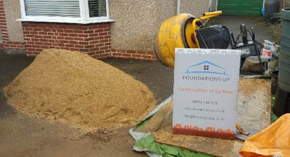 Sharp sand ready to be mixed for patio