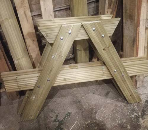 Both picnic bench A-frames completed