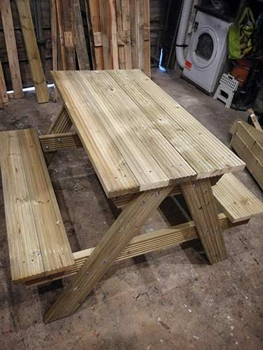 Completed picnic bench