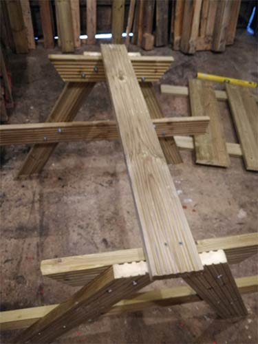 First table top timber fixed to A-frames