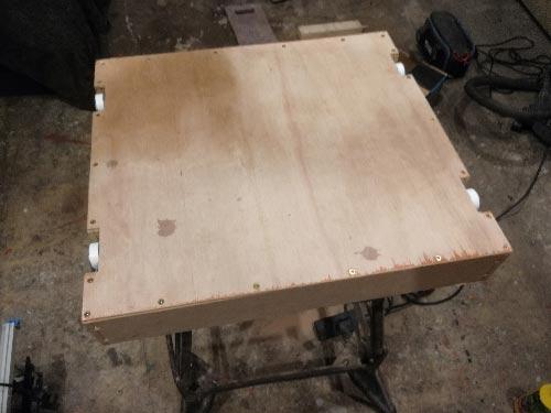 Base screwed on to plinth drawer framework to form drawer