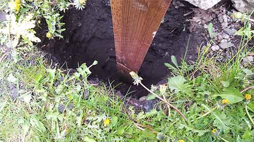 Fence post hole dug out