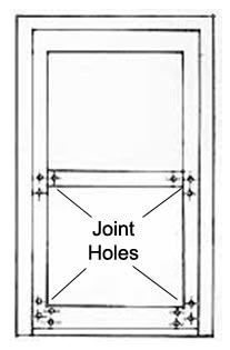 Position of joint holes in a wooden window frame