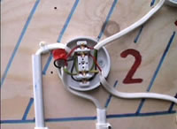 Switch junction box showing wiring with junction box
