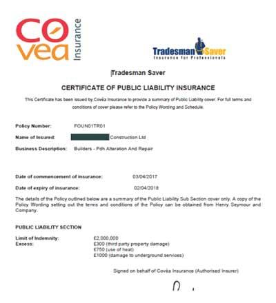 Public Liability Certificate example