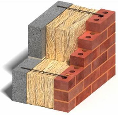 Wall ties with insulation in a cavity wall space