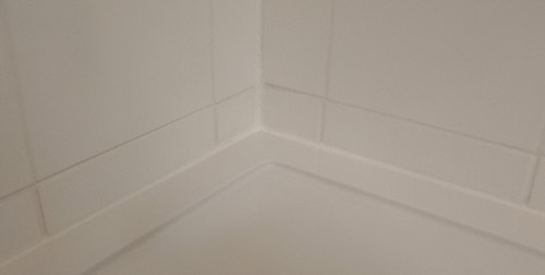 Seal the gap between the shower tray and tiles