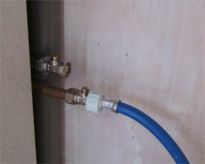 Cold water inlet pipe connected to the mains water supply
