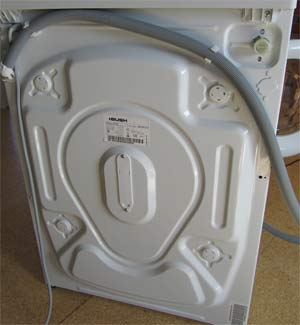 Rear view of washing machine ready to begin fitting
