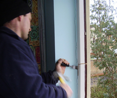 Remove window sides or jambs with a hammer and chisel