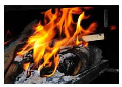 Logs burning on fire