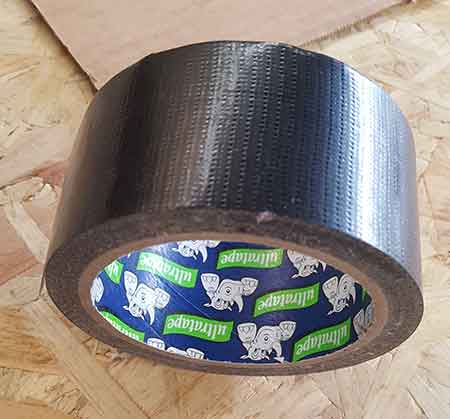 Duct tape used to seal around edge of double glazed unit