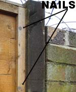Battens fixed to fence panel either side of cut