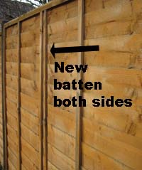 New batten fixed to fence panel on both sides
