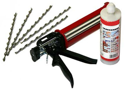 Resin fix kit for wall ties