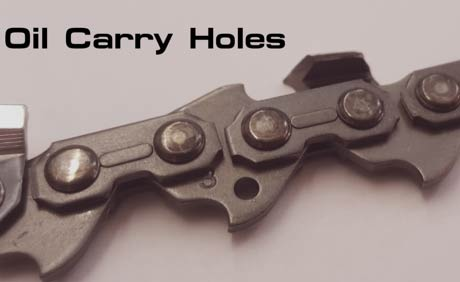 Oil carry holes on chainsaw chain