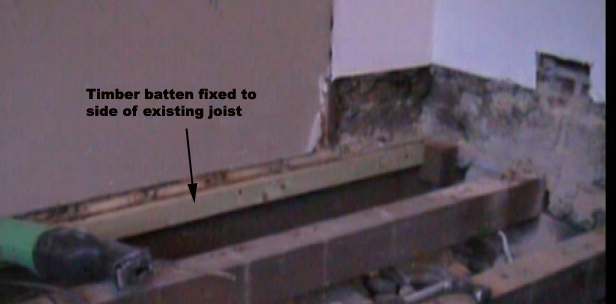 Timber batten fixed to existing joist